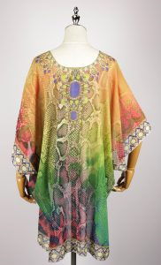 FOK1038 kaftan dress digital printing back