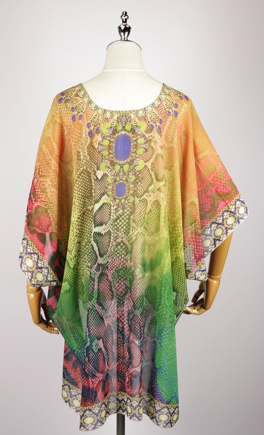 FOK1038 kaftan dress digital printing back