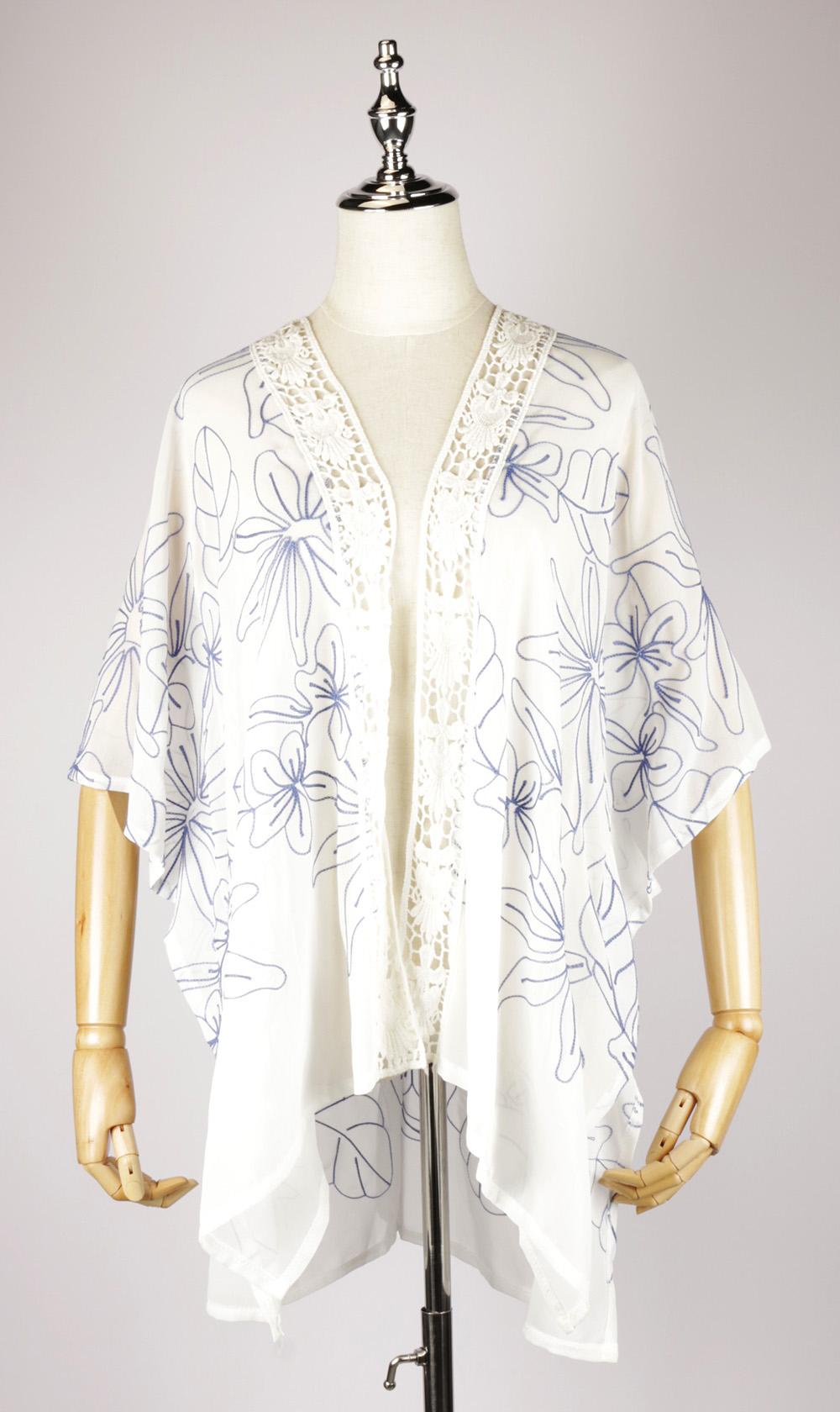 CEK1537 Chiffon Embroidery Kimono