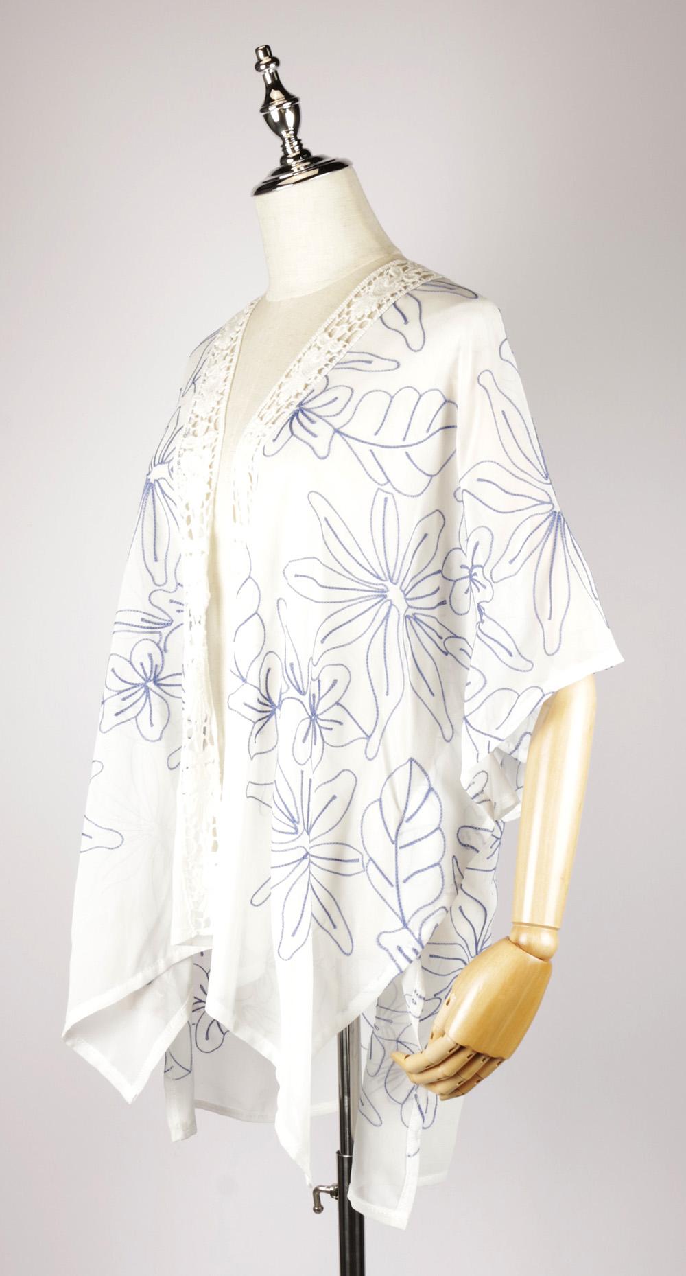 CEK1537 Chiffon Embroidery Kimono side