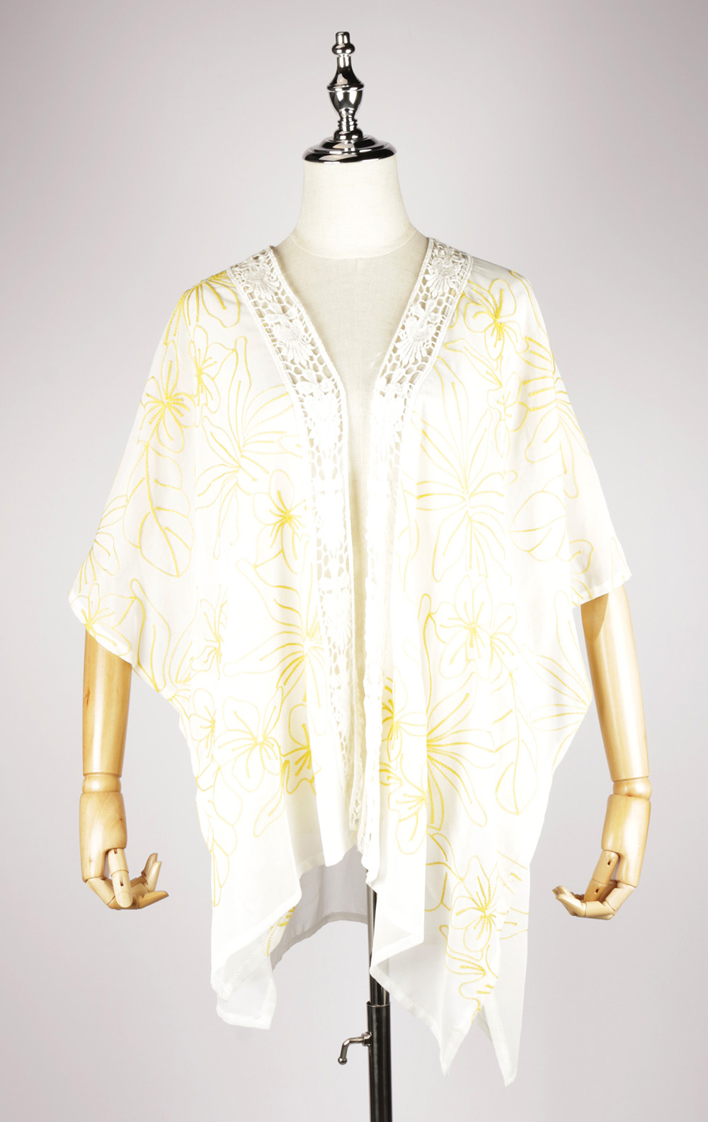 CEK1560 Embroidery kaftan yellow