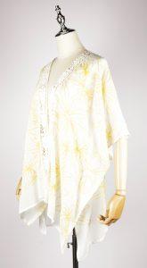 CEK1560 Embroidery kaftan yellow side