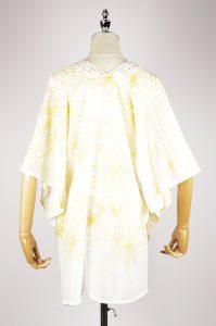 CEK1560 Embroidery kaftan yellow back