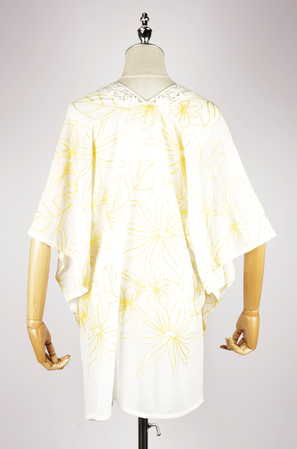 CEK1560 Embroidery kaftan yellow back