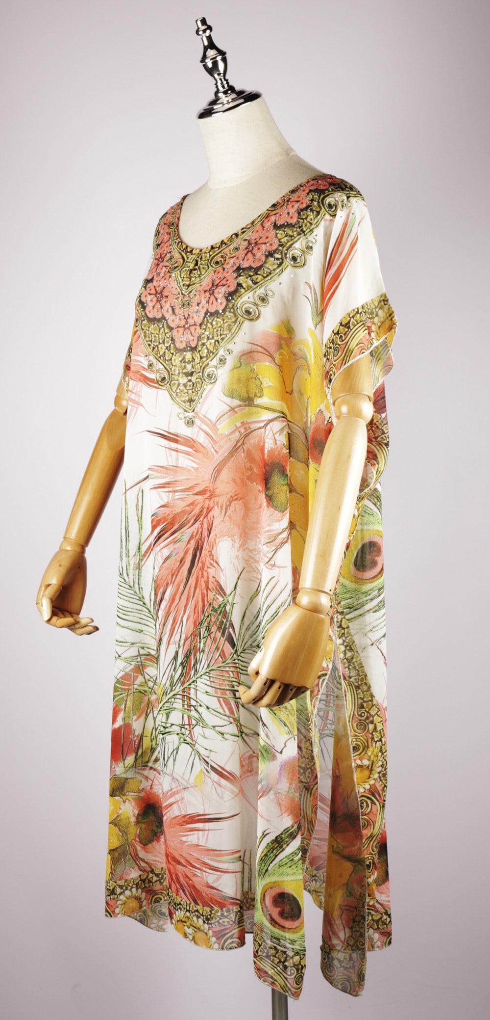 LKF2035 side maxi kaftan dress