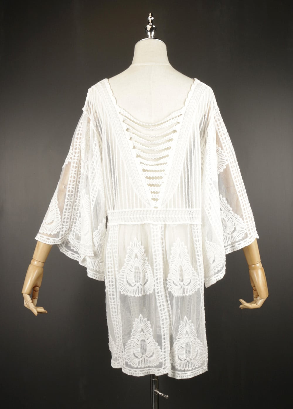 LSK0803 Short lace kimono back
