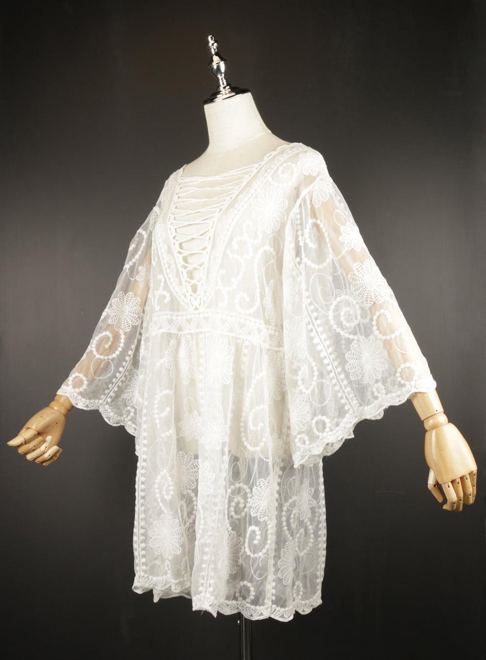 LSK0806 white Short lace kimono side