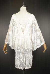 LSK0806 white Short lace kimono back