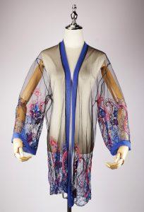 LEK2320 embroidery blue kimono