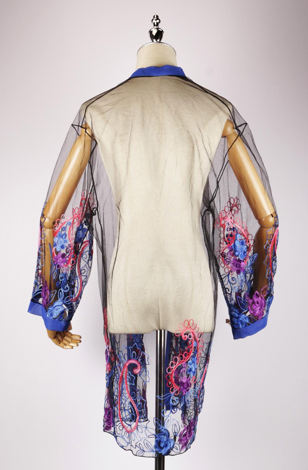 LEK2320 embroidery blue kimono back