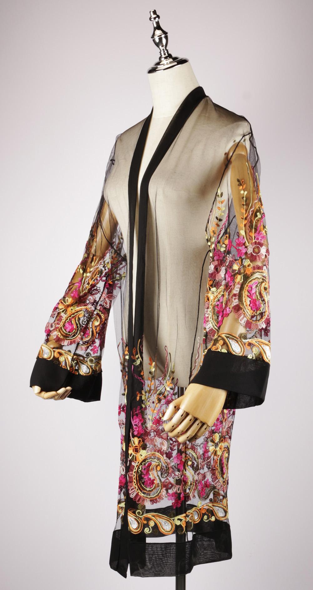 LEK2323 embroidered kimono gold side