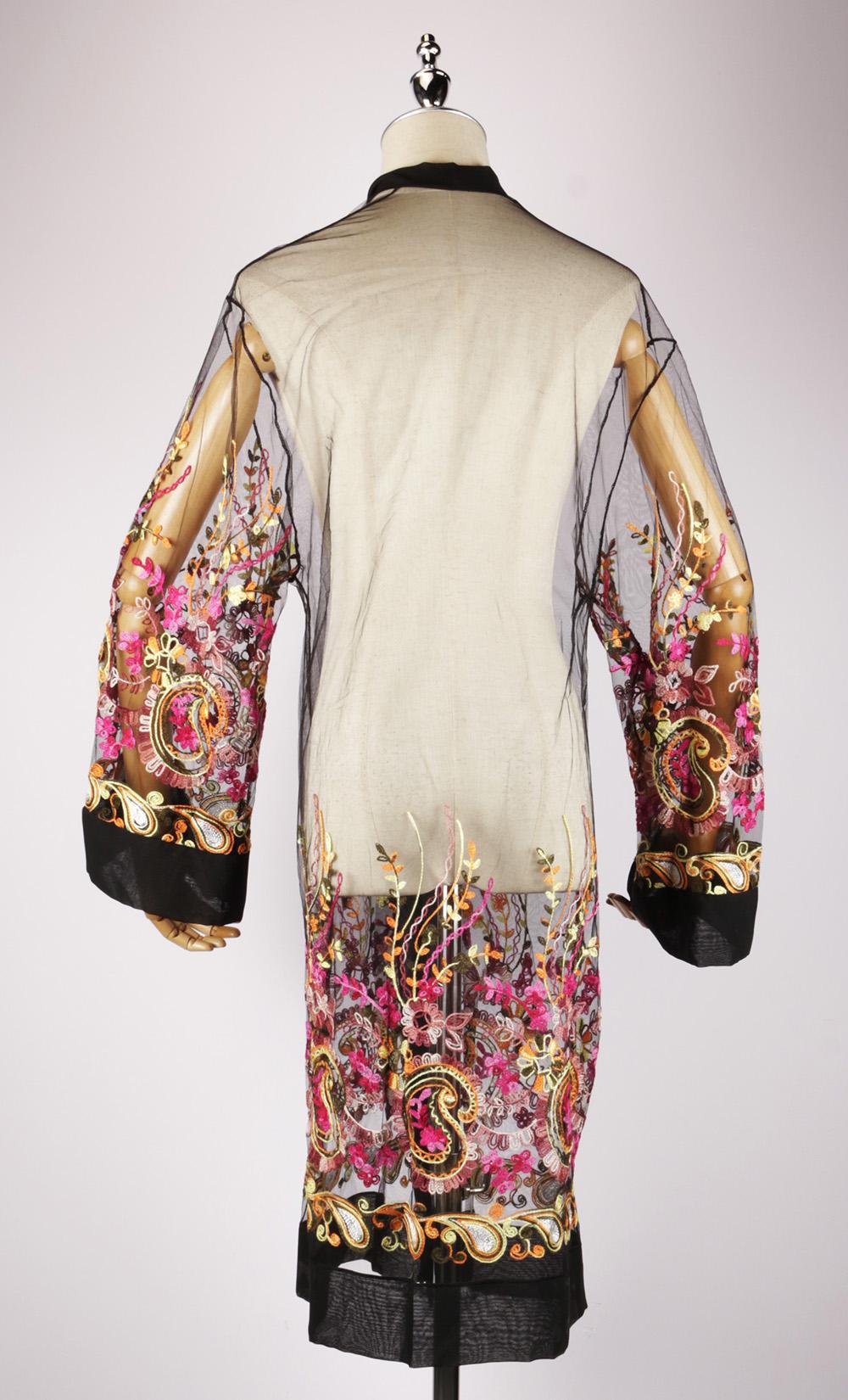 LEK2323 embroidered kimono gold back