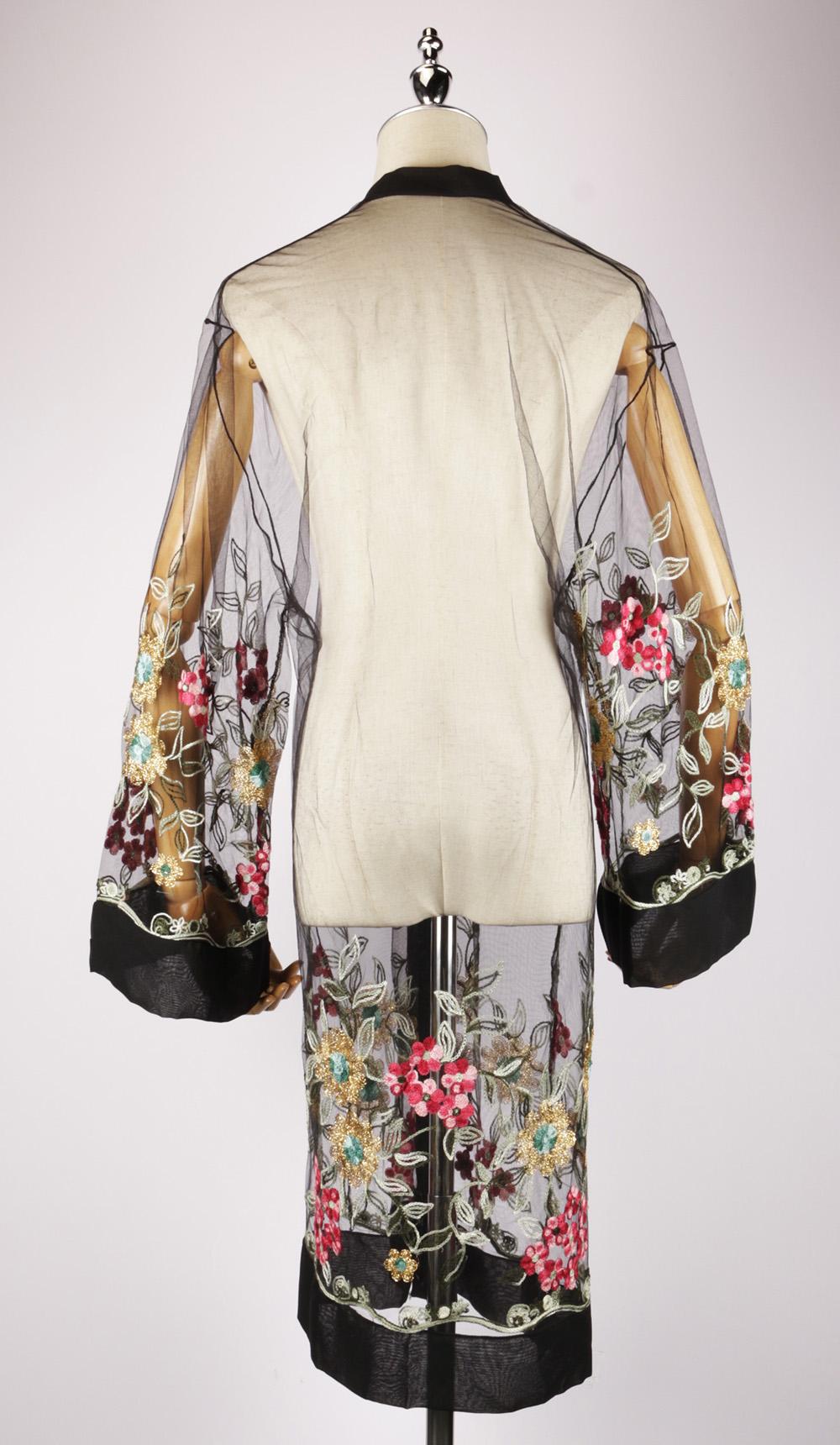 LEK2326 embroidered kimono back